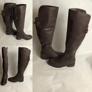 Brown Man Made Leather Riding Boot